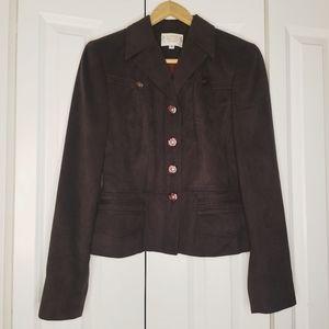 ALBERTO MAKALI Brown Faux Suede  Blazer Jacket 4